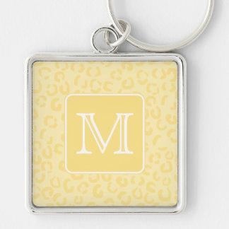 Beige Yellow Leopard Print. Custom Monogram. Key Chain