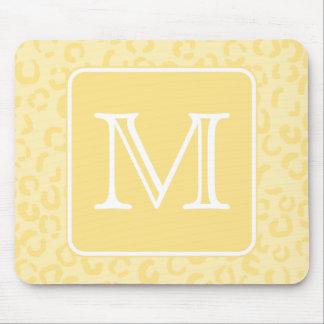 Beige Yellow Leopard Print. Custom Monogram. Mouse Pad