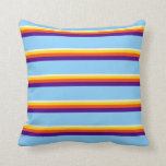 [ Thumbnail: Beige, Yellow, Red, Indigo & Light Sky Blue Lines Throw Pillow ]