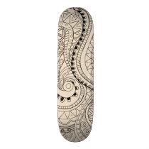 beige zen snakes pattern skateboard