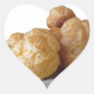 Beignets deliciosos pegatina en forma de corazón