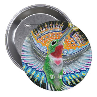 "Beija Flor (""Flower Kisser"") Hummingbird Painting 3 Inch Round Button"