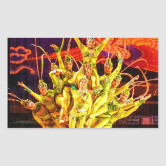Beijing Circus Acrobats Rectangular Sticker