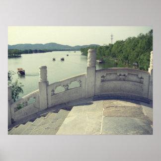 Beijing summer palace bridge vintage postercard poster