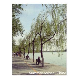 Beijing summer palace lake and trees postcard