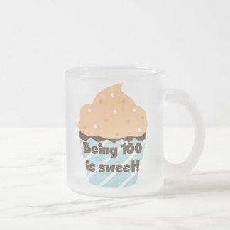 Being 100 is Sweet Birthday T-shirts and Gifts Frosted Glass Coffee Mug