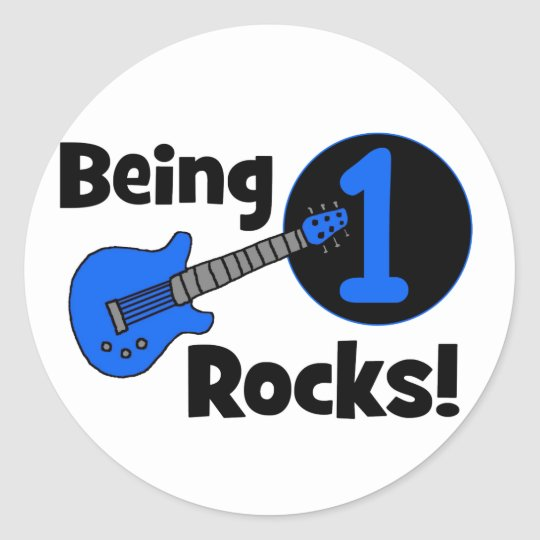 Being 1 Rocks! with Blue Guitar Classic Round Sticker
