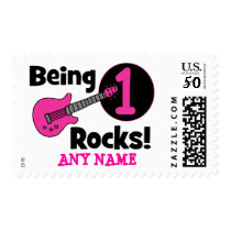 Being 1 Rocks! with Pink Guitar Postage
