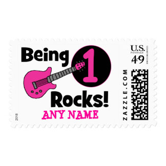 Being 1 Rocks! with Pink Guitar Postage Stamp