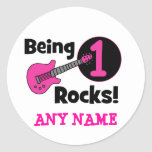Being 1 Rocks! with Pink Guitar Round Stickers