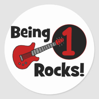 Being 1 Rocks! with Red Guitar Classic Round Sticker