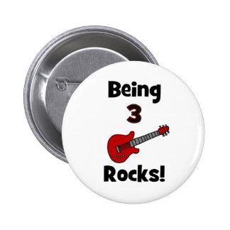 Being 3 Rocks! With Guitar Rockstar Rocker Pinback Buttons