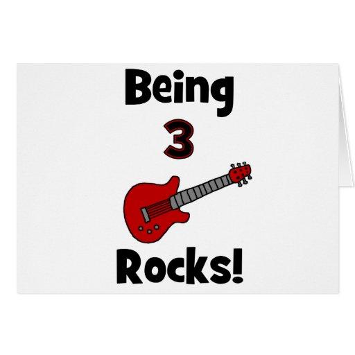 Being 3 Rocks! With Guitar Rockstar Rocker Greeting Card