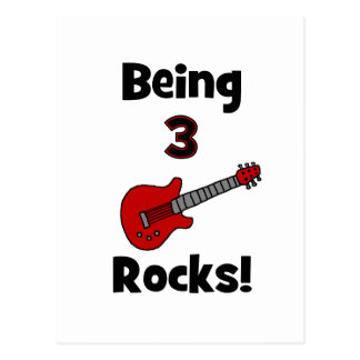 Being 3 Rocks! With Guitar Rockstar Rocker Postcard