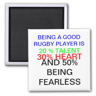 being a good rugby player 2 inch square magnet