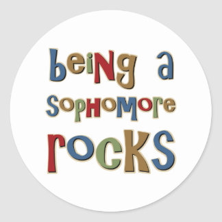Being A Sophomore Rocks Classic Round Sticker