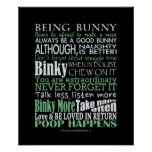 """""""Being Bunny"""" Poster/Prints"""