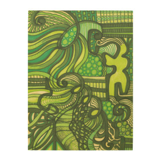 Being Green Abstract Art Wood Print