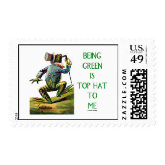 Being Green Is Top Hat To Me (Top Hat Frog) Postage
