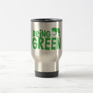 BEING GREEN with cute little frog Travel Mug