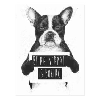 Being normal is boring postcard