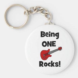 Being One (1) Rocks! Basic Round Button Keychain