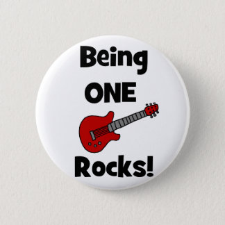 Being One Rocks! with Guitar Pinback Button