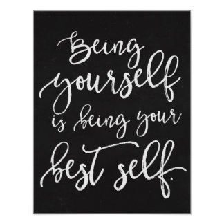 Being Your Best Self Rustic Typography Chalkboard Poster