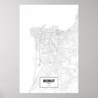 Beirut, Lebanon (black on white) Poster