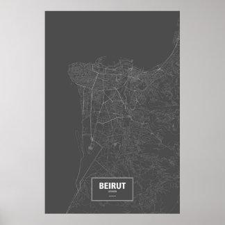 Beirut, Lebanon (white on black) Poster