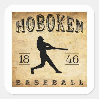 Béisbol 1846 de Hoboken New Jersey Pegatina Cuadrada