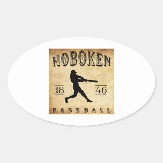 Béisbol 1846 de Hoboken New Jersey Pegatina Ovalada