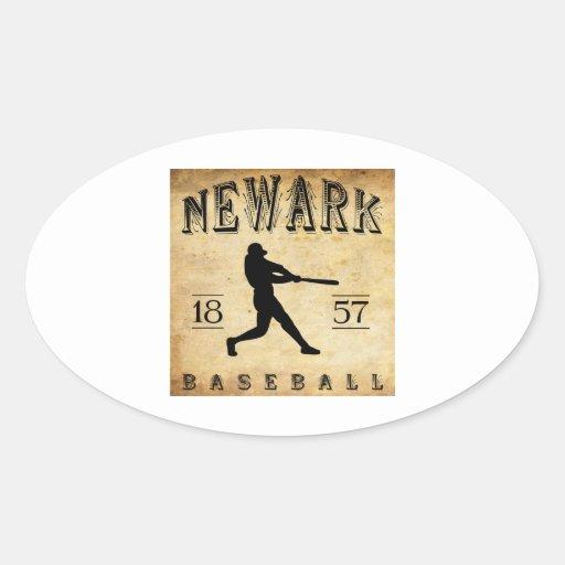 Béisbol 1857 de Newark New Jersey Calcomanía De Oval Personalizadas