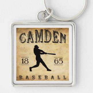Béisbol 1865 de Camden New Jersey Llavero Cuadrado Plateado