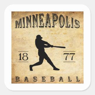 Béisbol 1877 de Minneapolis Minnesota Pegatina Cuadrada