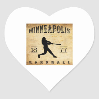 Béisbol 1877 de Minneapolis Minnesota Pegatina En Forma De Corazón