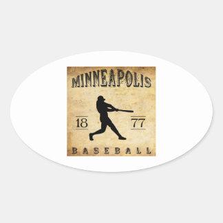 Béisbol 1877 de Minneapolis Minnesota Pegatina Ovalada