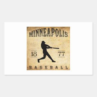 Béisbol 1877 de Minneapolis Minnesota Pegatina Rectangular