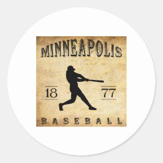 Béisbol 1877 de Minneapolis Minnesota Pegatina Redonda