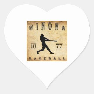 Béisbol 1877 de Winona Minnesota Pegatina En Forma De Corazón