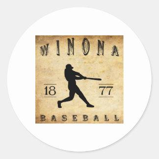 Béisbol 1877 de Winona Minnesota Pegatina Redonda