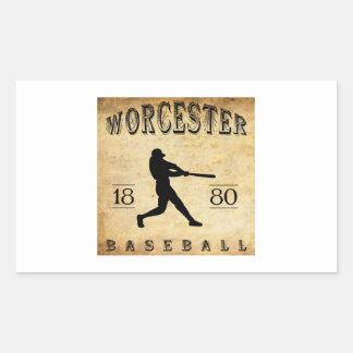 Béisbol 1880 de Worcester Massachusetts Pegatina Rectangular