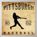 Béisbol 1882 de Pittsburgh Pennsylvania Poster