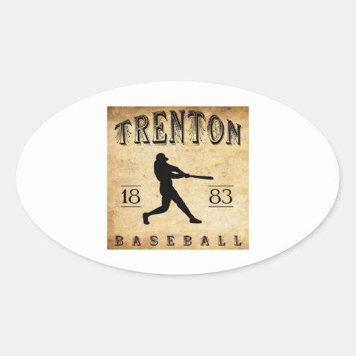 Béisbol 1883 de Trenton New Jersey Pegatina Ovalada