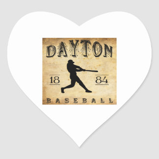 Béisbol 1884 de Dayton Ohio Pegatina En Forma De Corazón