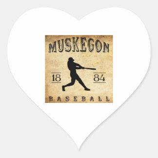 Béisbol 1884 de Muskegon Michigan Pegatina En Forma De Corazón