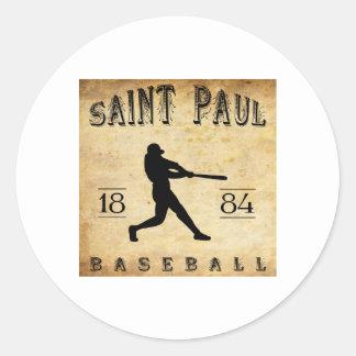 Béisbol 1884 de Saint Paul Minnesota Pegatina Redonda