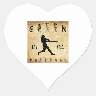 Béisbol 1884 de Salem Massachusetts Pegatina En Forma De Corazón