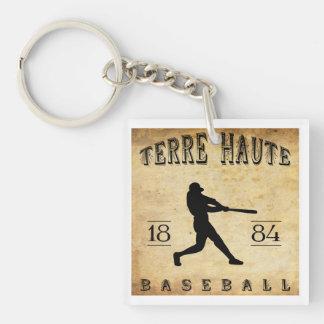 Béisbol 1884 de Terre Haute Indiana Llavero Cuadrado Acrílico A Doble Cara