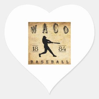Béisbol 1884 de Waco Tejas Pegatina En Forma De Corazón